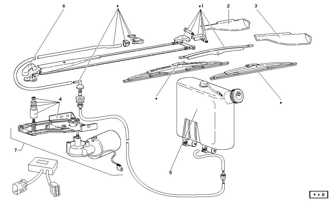 WINDSCREEN WIPER (VER 74- 76) - TWO FIN SYSTEM