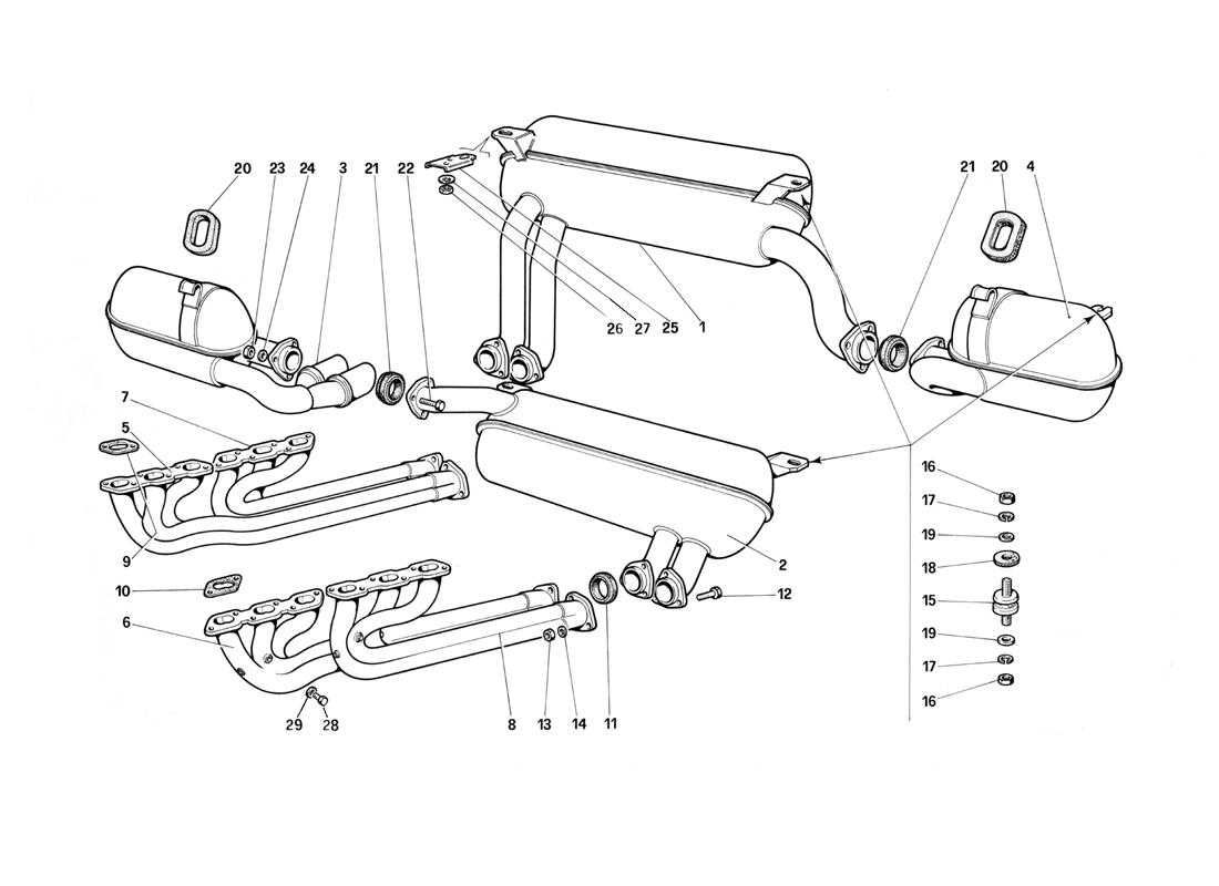 EXHAUST SYSTEM (NOT FOR U.S.- SA AND CH87)