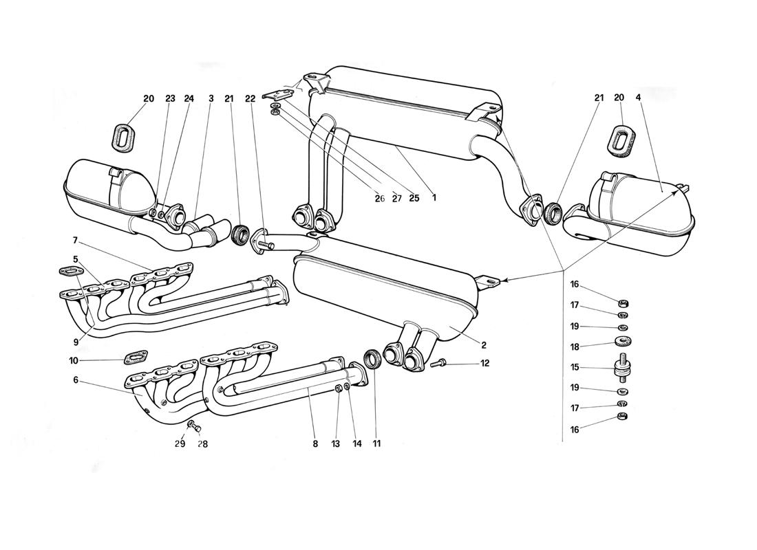 EXHAUST SYSTEM (FOR B1 - RHD1 VERSION)