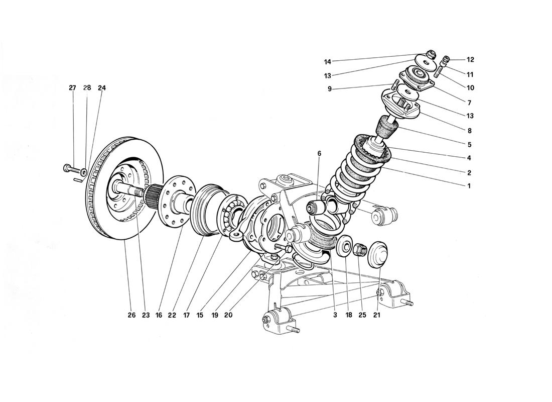 FRONT SUSPENSION - SHOCK ABSORBER AND BRAKE DISC (UNTIL CAR NO. 75995)