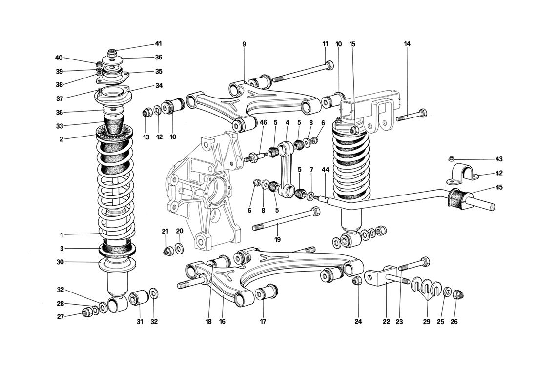 REAR SUSPENSION - WISHBONES AND SHOCK ABSORBERS (STARTING FROM CAR NO.75997)