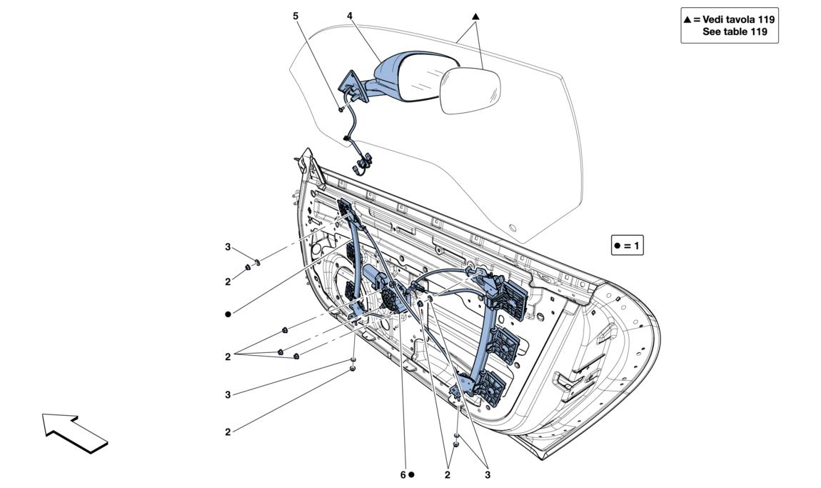 doors - power windows and rear-view mirror - f12 - gt group  2-seat - v12 - ferrari